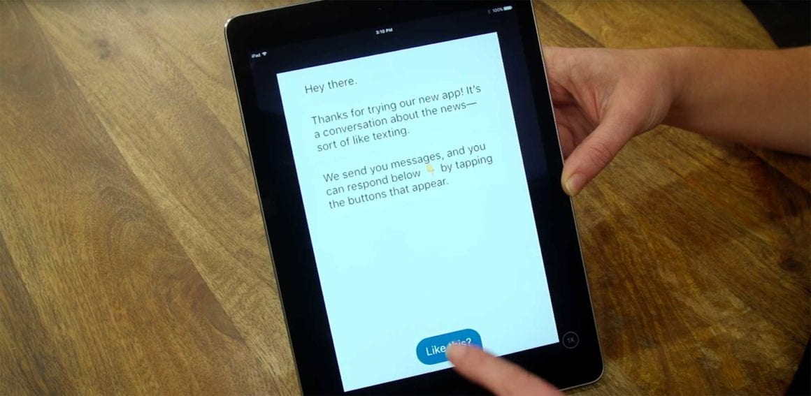 Example of the Quartz App messaging on iPad screen • Internal Communications