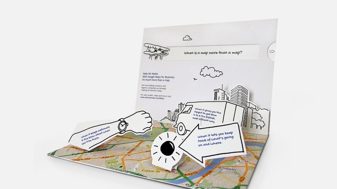 Pop-up DM created by Earnest for Google Maps for Business campaign