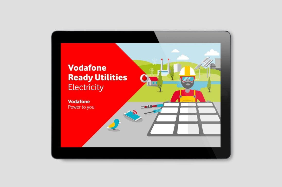 iPad screen with Vodafone Ready Utilities electronic brochure with engineer graphic • Global Content Marketing