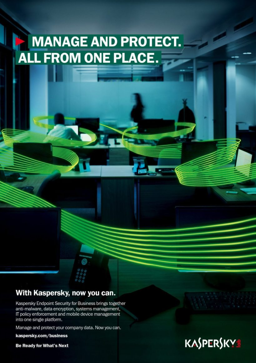Press ad for global campaign – image from 'Kaspersky Endpoint Security for Business' global launch campaign by Earnest
