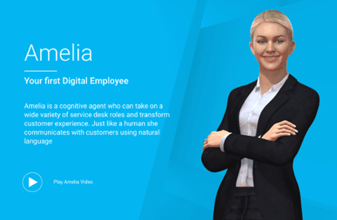 Advert for IPSoft's Amelia, with virtual blonde woman in suit with her arms crossed • Chatbots in B2B