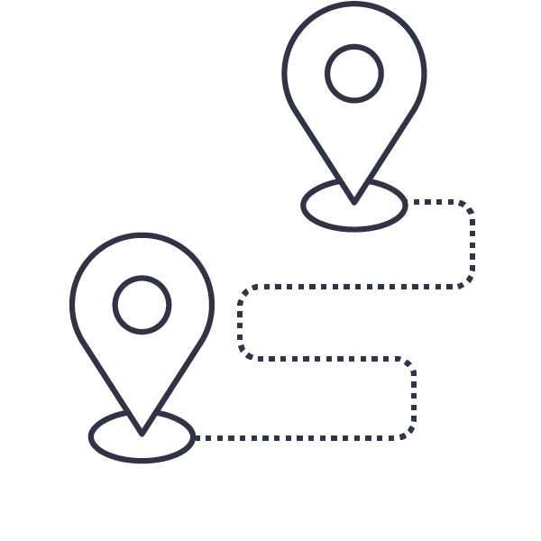Illustration of two map location indicators, joined by a dotted line • Digital Marketing Services • Earnest